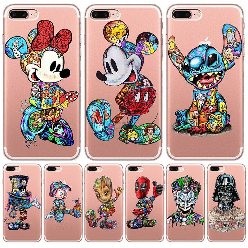 luxury Tattoo groot stitch for Funda iPhone 11 Pro 5 5S 6 6S 7 8