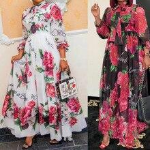 Dinner-Dresses Clothing Dashiki Elegant African Gown Spring Summer Women for Ladies 229-Flowers