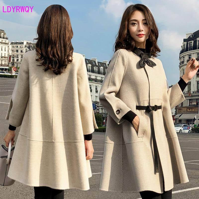 Image 2 - 2019 autumn new Korean womens splicing stand collar single  breasted seven point sleeves fresh and lovely long cloak wool coatWool
