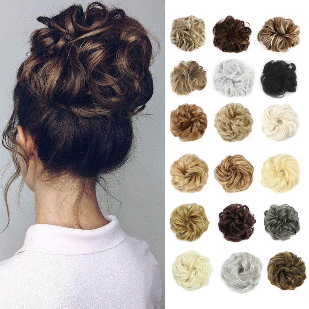 Hair-Piece Bun Extensions Chignons Curly Elegant Synthetic Women Wedding XINRAN for And