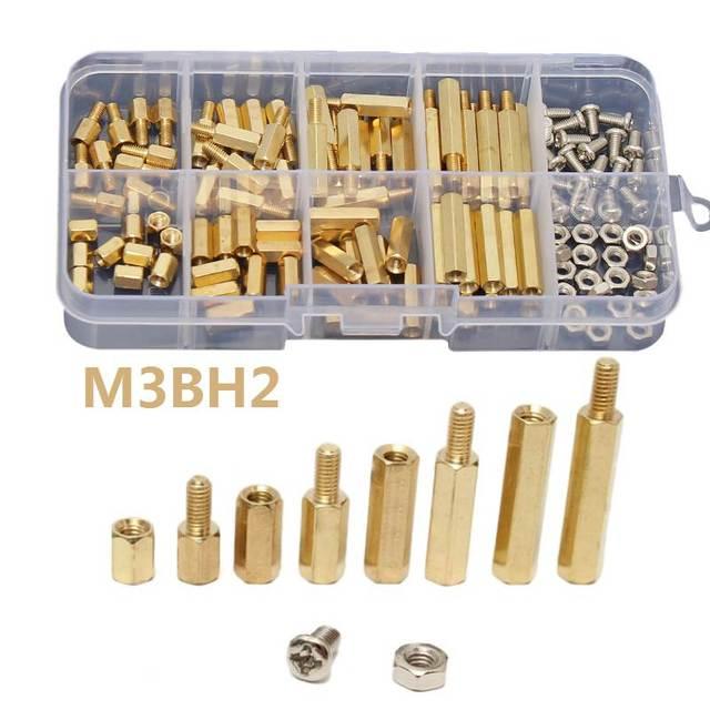 مجموعة متنوعة من الصواميل مع صندوق ، 120 قطعة/المجموعة/مجموعة ، ذكر/أنثى ، نحاس ، مباعد ، عمود PCB ، براغي سداسية ، مجموعة أدوات تثبيت