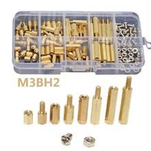 120Pcs/Set M3BH2 M3 Male Female Brass Standoff Spacer Pillar PCB Board Hex Screws Nut Assortment Kit with Box Fastener Hardware