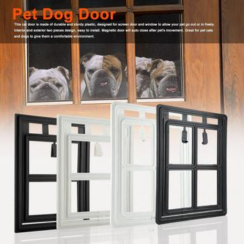 Plastikowe pieski domowe Cat Kitty drzwi magnetyczne blokowanie bezpieczne klapy na ekran zabezpieczenie okna klapy bramy tunel dla zwierząt pies ogrodzenia drzwi dostępu tanie i dobre opinie CN (pochodzenie) Drzwi i Gates Pet Dog Door Z tworzywa sztucznego Uniwersalny 100 Brand New Plastic X XL approx 317-835g