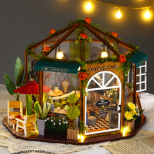 GARDEN CAFF DIY Doll House Miniature With Furnitures Wooden Miniaturas Toys For Children New Year Christmas  Brithday Gift