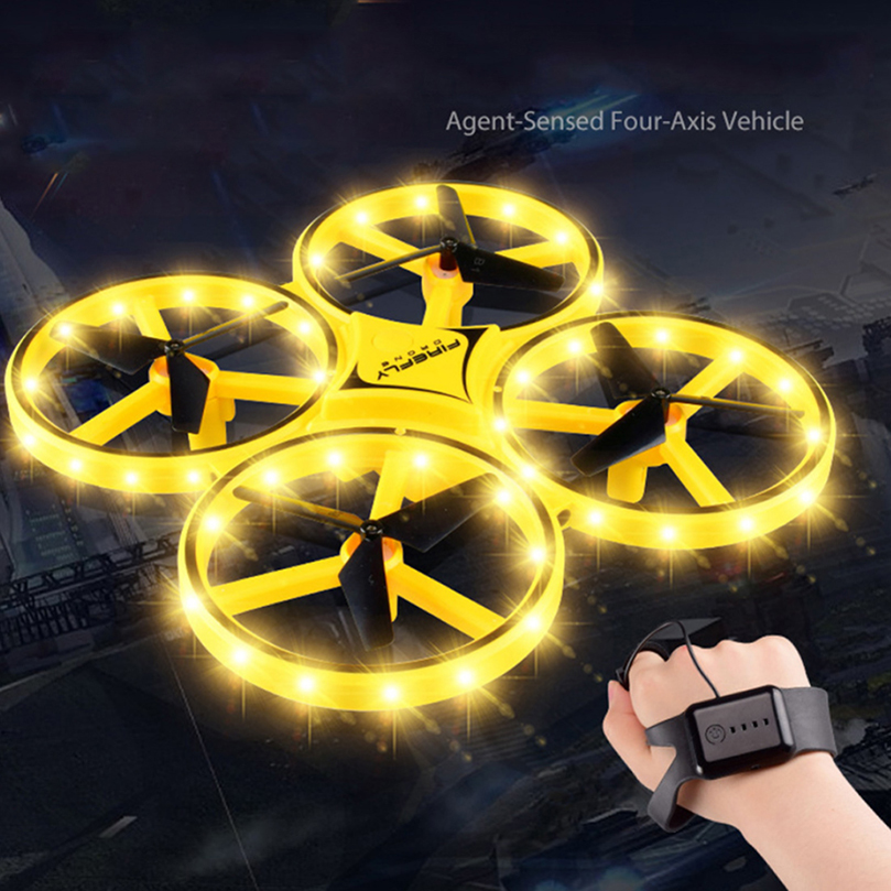 Mini Helicopter Induction Drone Smart Watch Hand Gesture Sensor Remote RC Aircraft UFO Flying Quadcopter Interactive Kids Toys