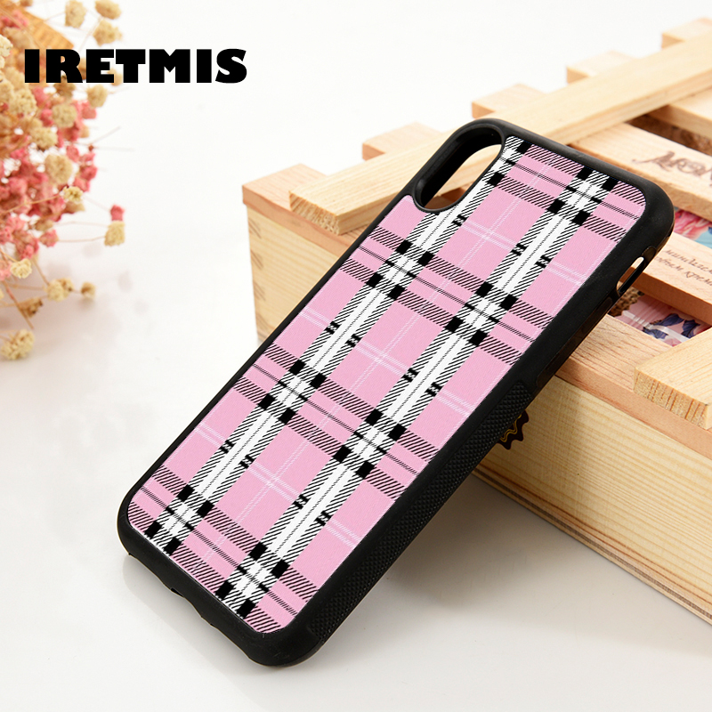 Iretmis 5 5S SE 6 6S Soft TPU Silicone Rubber Phone Case Cover For IPhone 7 8 Plus X Xs 11 Pro Max XR Pink Plaid