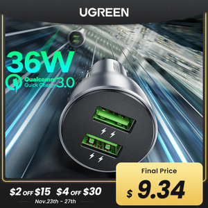 Ugreen Quick Charge 3.0 36W QC Car Charger for Samsung S10 9 Fast Car Charging for Xiaomi iPhone QC3.0 Mobile Phone USB Charger