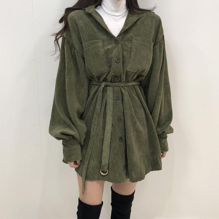 H567946d22f874194bb634602e9f48bd9A - Autumn / Winter Turn-Down Collar Long Sleeves Corduroy Solid Mini Dress