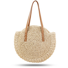 Hot Sale Hand-woven Round Woman's Shoulder Bag Handbag Bohemian Summer Straw Beach Bag Travel Shopping Female Tote Wicker Bags(China)