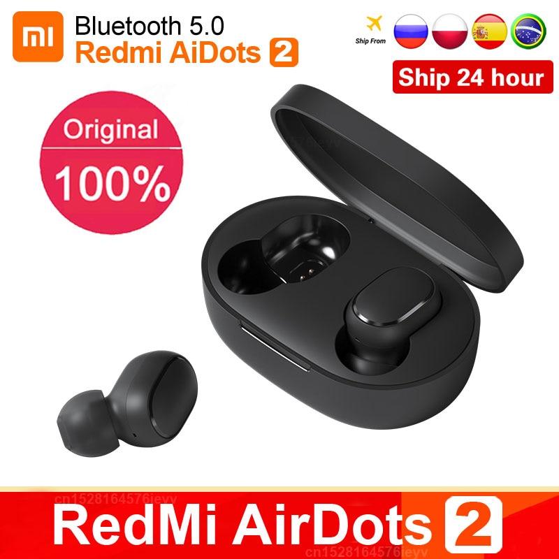 Oryginalny Xiaomi Redmi Airdots 2 TWS prawdziwe bezprzewodowe słuchawki Bluetooth Stereo bass 5.0 zestaw słuchawkowy z mikrofonem słuchawki douszne Air2 S