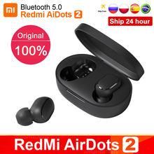 Xiaomi – écouteurs sans fil Redmi Airdots 2 TWS Bluetooth 5.0, casque d'écoute, oreillettes, stéréo, basses, avec micro, mains libres, d'origine