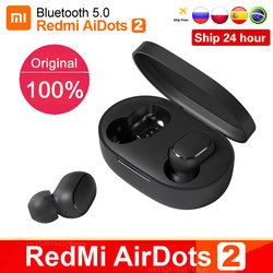 Original Xiaomi Redmi Airdots 2 TWS True Wireless Bluetooth Earphone Stereo bass 5.0 Headset With Mic Handsfree Earbuds Air2 S