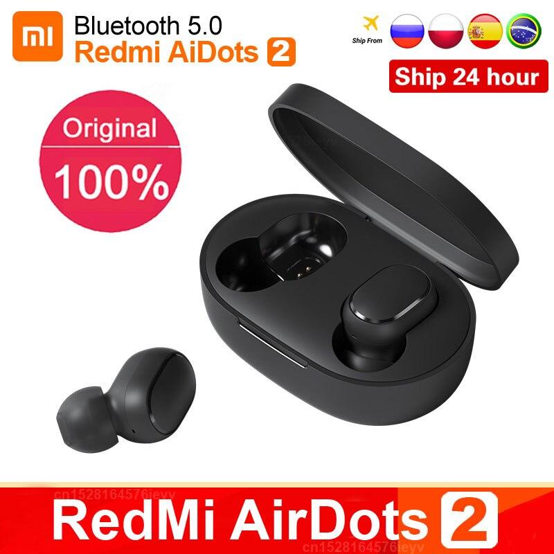 Original Xiaomi Redmi Airdots 2 TWS Wahre Wireless Bluetooth Kopfhörer Stereo bass 5,0 Headset Mit Mic Freihändiger Ohrhörer Air2 S