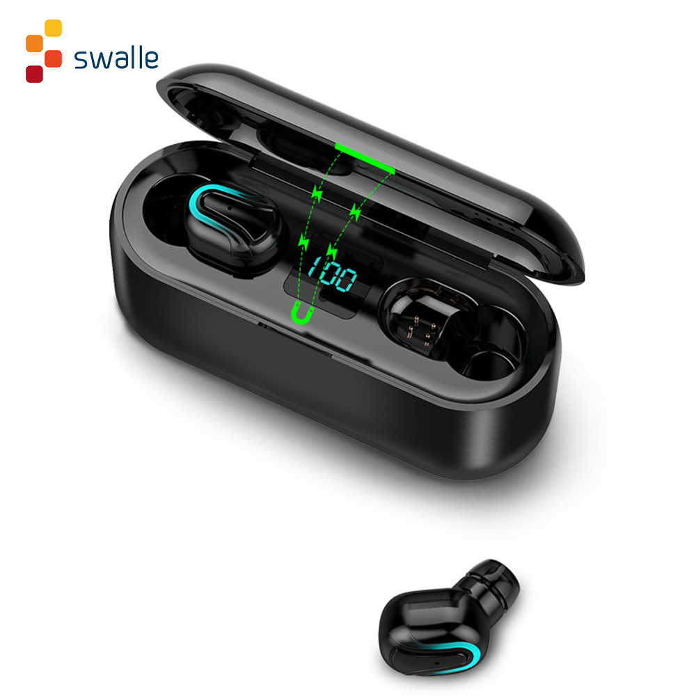 Swalle Tws Earphone Nirkabel Stereo Headphone Headset Gaming untuk Airpods Bluetooth Earphone dengan Charger Kasus Hadiah Terbaik