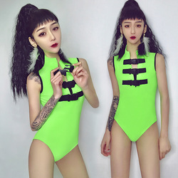New bar ds new sexy gogo collar dance clothing nightclub dj female singer suit fluorescent stage