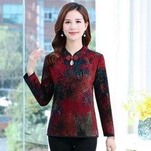 Chinese Style Women Slim Blouses Oriental Button Vintage Design Mandarin Collar Fleece Warm Tops Female Flower Thicken Shirts