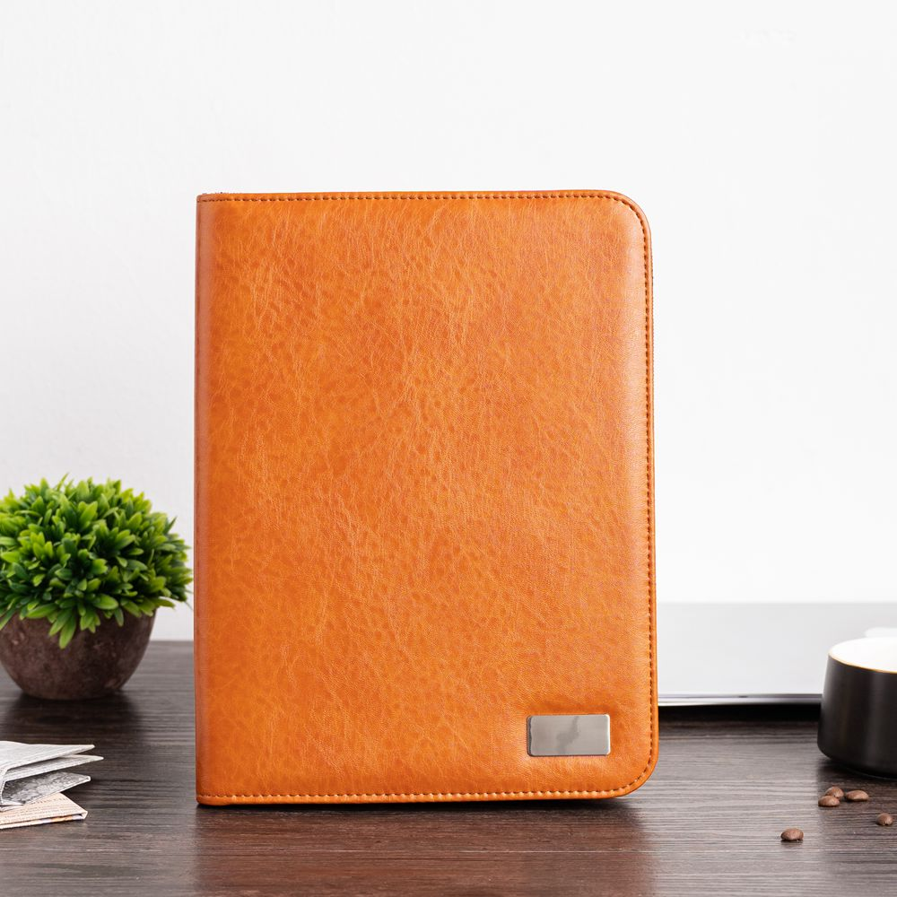 A4 Document Folder Document Organizer PU Leather Zipped Conference Bag Business Briefcase Padfolio Folder Manager