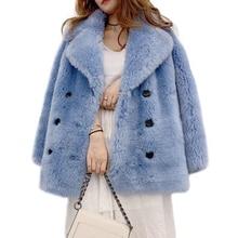 Zimowy płaszcz z prawdziwego futra kobiety naturalna wełna owiec kurtka Ladis płaszcz dorywczo ciepły 2019 nowy naturalny prawdziwy jagnięcy płaszcz futrzany wełniany