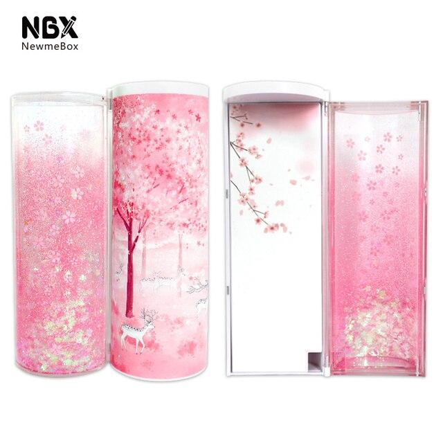 Areia movediça translúcida criativo multifuncional cilíndrico ipen caixa de lápis caso papelaria caneta titular 2019 newmebox rosa azul estrela