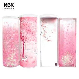 Image 1 - Quicksand translucide créatif multifonction cylindrique ipen boîte à crayons étui papeterie porte stylo 2019 Newmebox rose bleu étoile