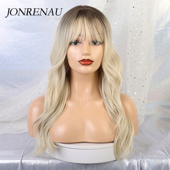 JONRENAU 24 inches 9 Colors Long Brown Root Ombre Blonde Wig Synthetic Natural Wave Wigs with Bangs for Black/White Women 2