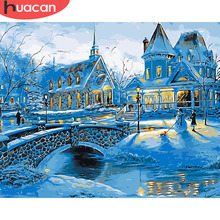 HUACAN Oil Painting By Numbers House Landscape Kits Drawing Canvas HandPainted DIY Pictures Winter Scenery Home Decor