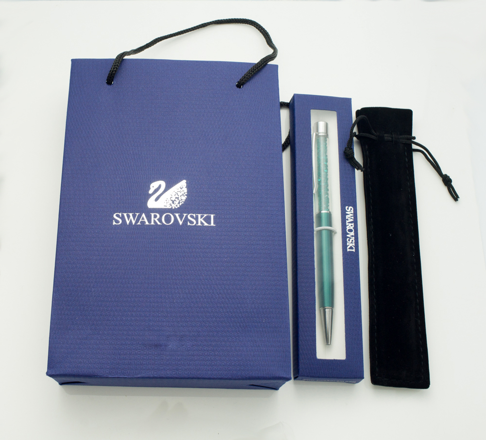 New Swarovsky Crystal ballpoint pen with gift logo element retail box case gift handbag