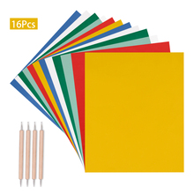 16Pcs/Set DIY Home Sewing Paint Kit Colorful Transfer Paper + Drawing Tracing Paper + Embossing for Handmade Cloth Embroidery