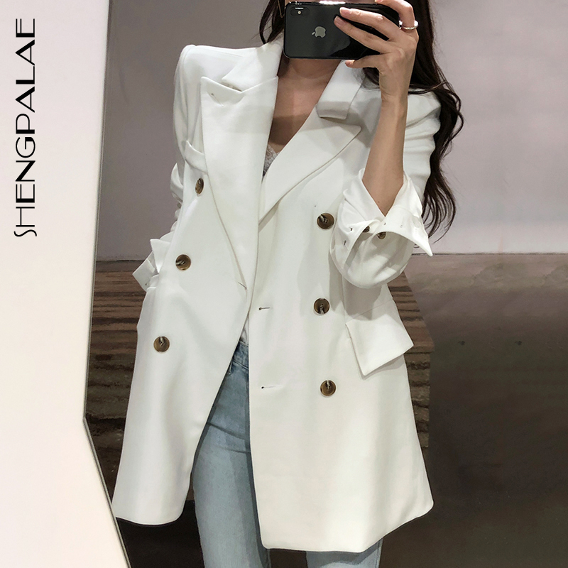 SHENGPALAE Autumn Winter 2019 Long Sleeve Turn-down Collar Pocket Elegant Fashion Blazer Women Korea Style Female Jacket FS863
