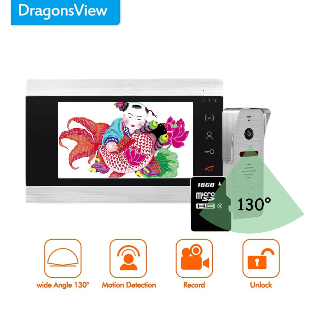 Dragonsview 7 Inch Video Intercom System Doorbell With Camera AHD Wide Angle 2.3mm Lens Record Motion Detection Waterproof