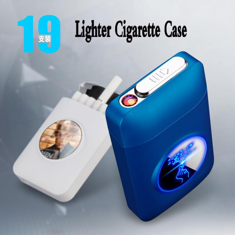 Resin Metal Capacity Cigarette Case Box With USB Electronic Lighter 19PCS Cigarette Holder Electric Plasma Arc Lighter Men Gifts