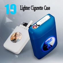 Resin Metal Capacity Cigarette Case Box With USB Electronic Lighter 19PCS Cigarette Holder Electric Plasma Arc Lighter Men Gifts 2017 new authentic orbit resin 80w tc box mod 5 80w electronic cigarette good quality resin mods vaporizer