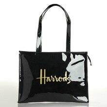 Горизонтальная серия, многоразовая сумка для покупок из ПВХ, Экологически чистая лондонская женская сумка для покупок, вместительная водонепроницаемая сумка, сумка на плечо