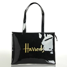 Horizontal Edition PVC Reusable Shopping Bag Eco friendly London Lady Shopper Bag Large Capacity Waterproof Handbag Shoulder Bag