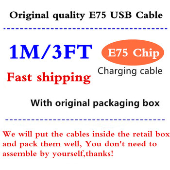 100pcs Original E75 Chip 1M 2M Sync Data USB charging cable adapter charger for Fox Phone X XS MAX 5 6 7 8 With retail New box