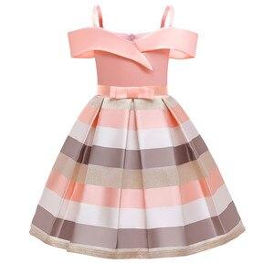 Детское платье с открытыми плечами для девочек, свадебное платье с цветами для девочек, вечерние платья принцессы в полоску, вечернее плать...