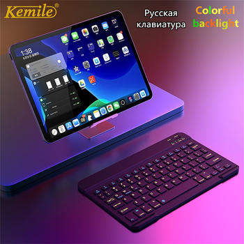 цена на Ultra Slim Aluminum Wireless Bluetooth Russian Keyboard For IOS Android Tablet PC Windows For iPad Bluetooth Russian Keyboard