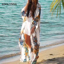 Boho czeski Kimono plażowe sweter Plus rozmiar z długim rękawem koszula kobiety odzież biały nadruk kobiet topy lato 2021 bluzka N608 tanie tanio EDOLYNSA Poliester CN (pochodzenie) long Osób w wieku 18-35 lat V-neck WOMEN NONE Pełna REGULAR Czesankowej Drukuj