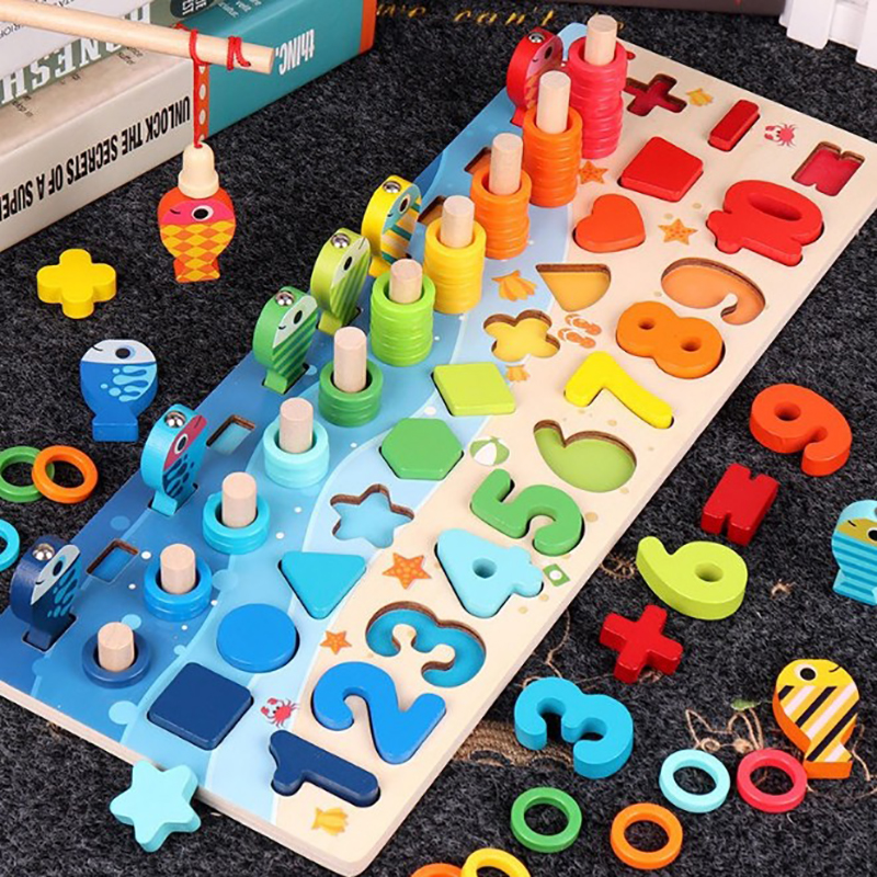 Geometry Stacker Toddler Toy Development Digital Polygon Color Fishing Game Shape Wood Classifier Stack Toy