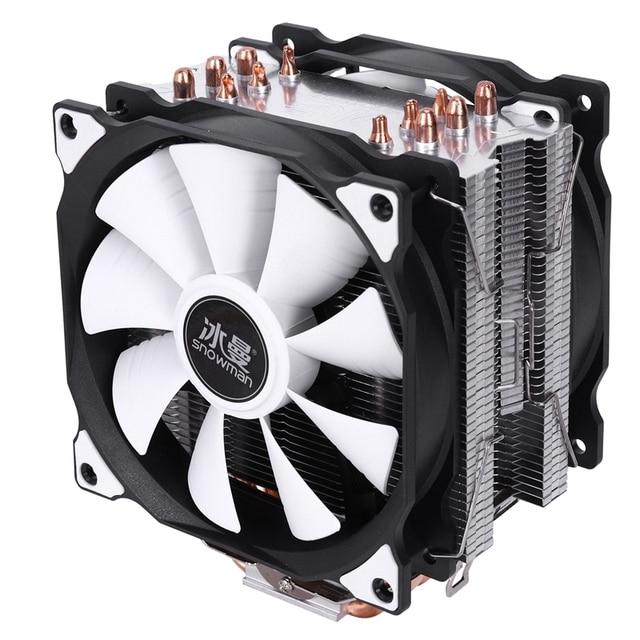 SNOWMAN 4PIN CPU cooler 6 heatpipe Double fans cooling 12cm fan LGA775 1151 115x 1366 support Intel AMD 2