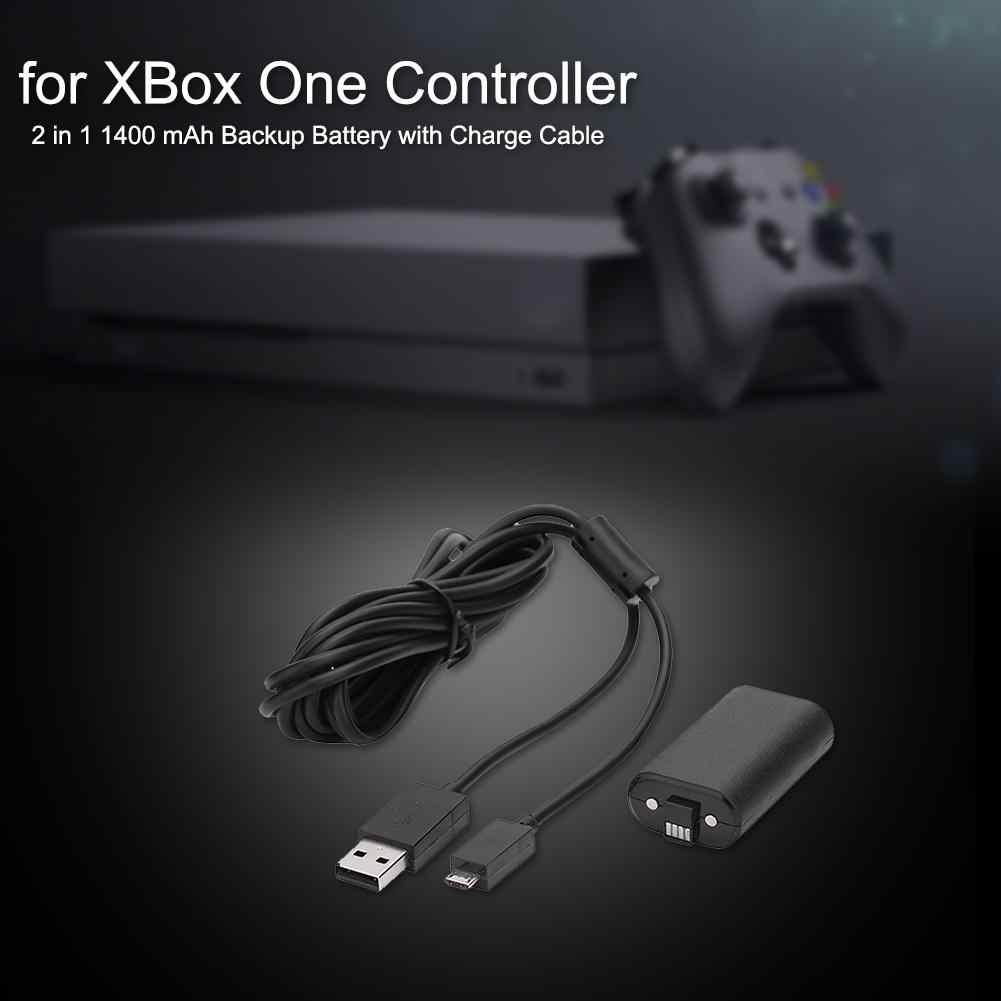 1400mAh pil ve USB kablosu XBOX ONE için kablosuz Gamepad denetleyicisi şarj kiti aşırı şarj aşırı gerilim koruma