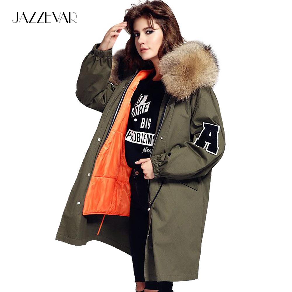 JAZZEVAR 2019 New winter jacket loose clothing hooded coat women   parkas   army green large raccoon fur collar outwear TOP quality