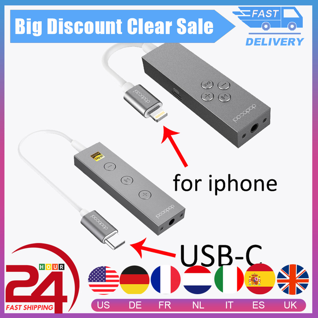 dodocool Hi Res Certified USB Type C/MFI Lighting to 3.5mm Earphone Headphone Cable Adapter 3.5mm Jack Aux Cable In line Remot
