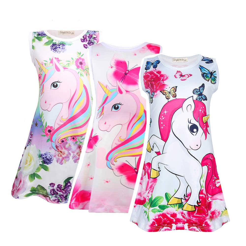 תינוקת בגדי Unicorn שמלת פרח שמלות יום הולדת מסיבת שרוולים בגדי נסיכת מסיבת Vestido 1754