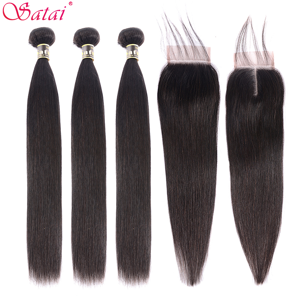 Satai Hair Extension Straight Hair Bundles With Closure 100% Non-Remy Human Hair Bundles With Closure Peruvian Hair Bundles