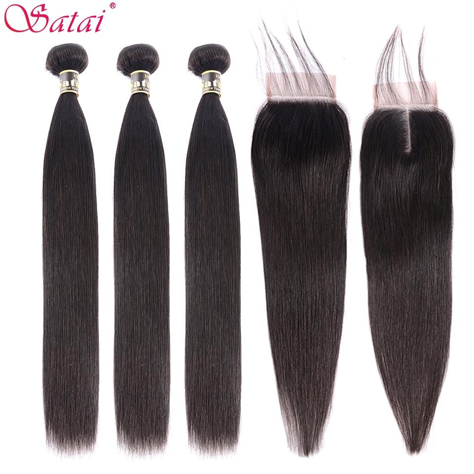 Satai Hair Extension Straight Hair Bundles With Closure 100% Non-Remy Human Hair Bundles With Closure Peruvian Hair Bundles