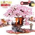 Stadt Street View Idee Sakura Inari Schrein Ziegel Freunde Kirschblüte Creator Haus Baum Bausteine Spielzeug Kinder Geschenk