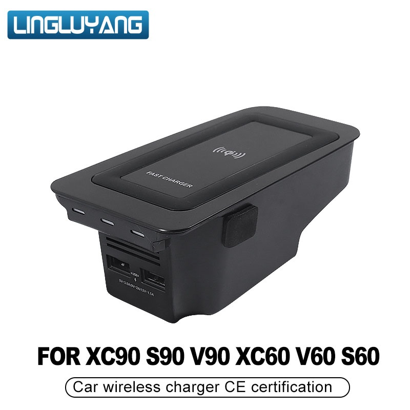 Автомобильное беспроводное зарядное устройство для volvo XC90 Новый XC60 S90 V90 QI 18 2019 специальный мобильный телефон зарядная Пластина Автомобильн...