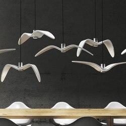 Nordic Seagull lampa styl skandynawski lampa wisząca om żyrandol ptaki Lustre zawieszenie oprawa światła w Wiszące lampki od Lampy i oświetlenie na