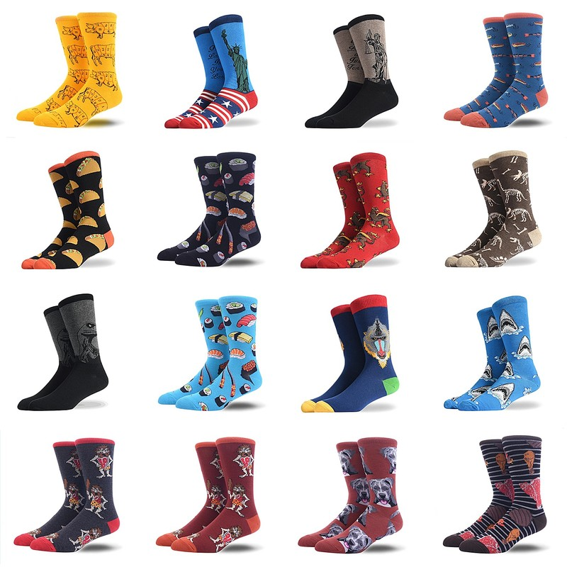 Men Socks Liberty Goddess Burger Potato Chips Dinosaur Griffon Shark Sushi Men's Combed Cotton Socks Fashion Hip Hop Happy Socks